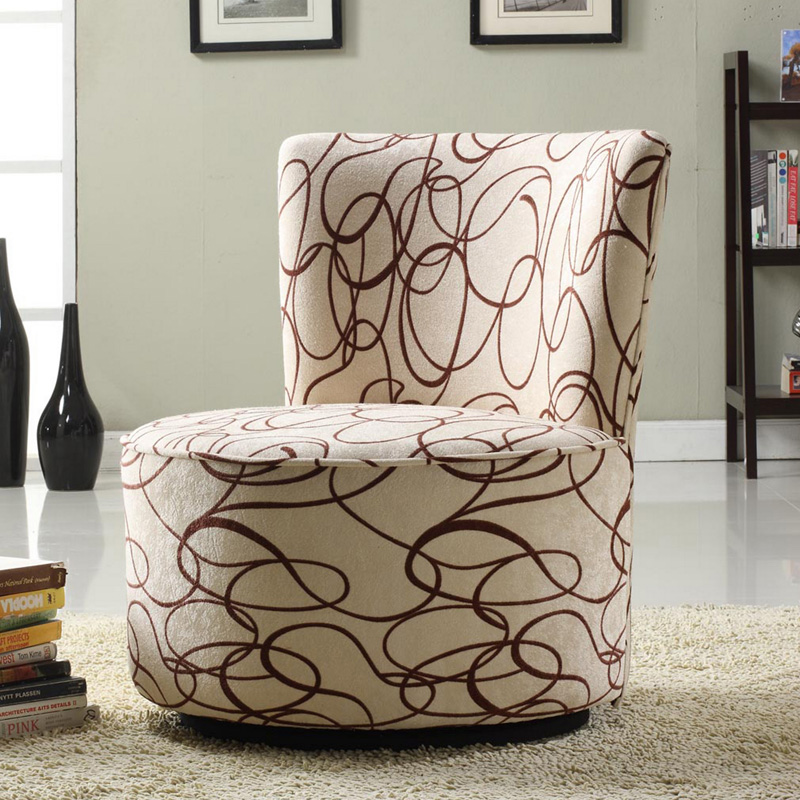 Jayden Round Fabric Swivel Chair Brown Scroll At Hayneedle