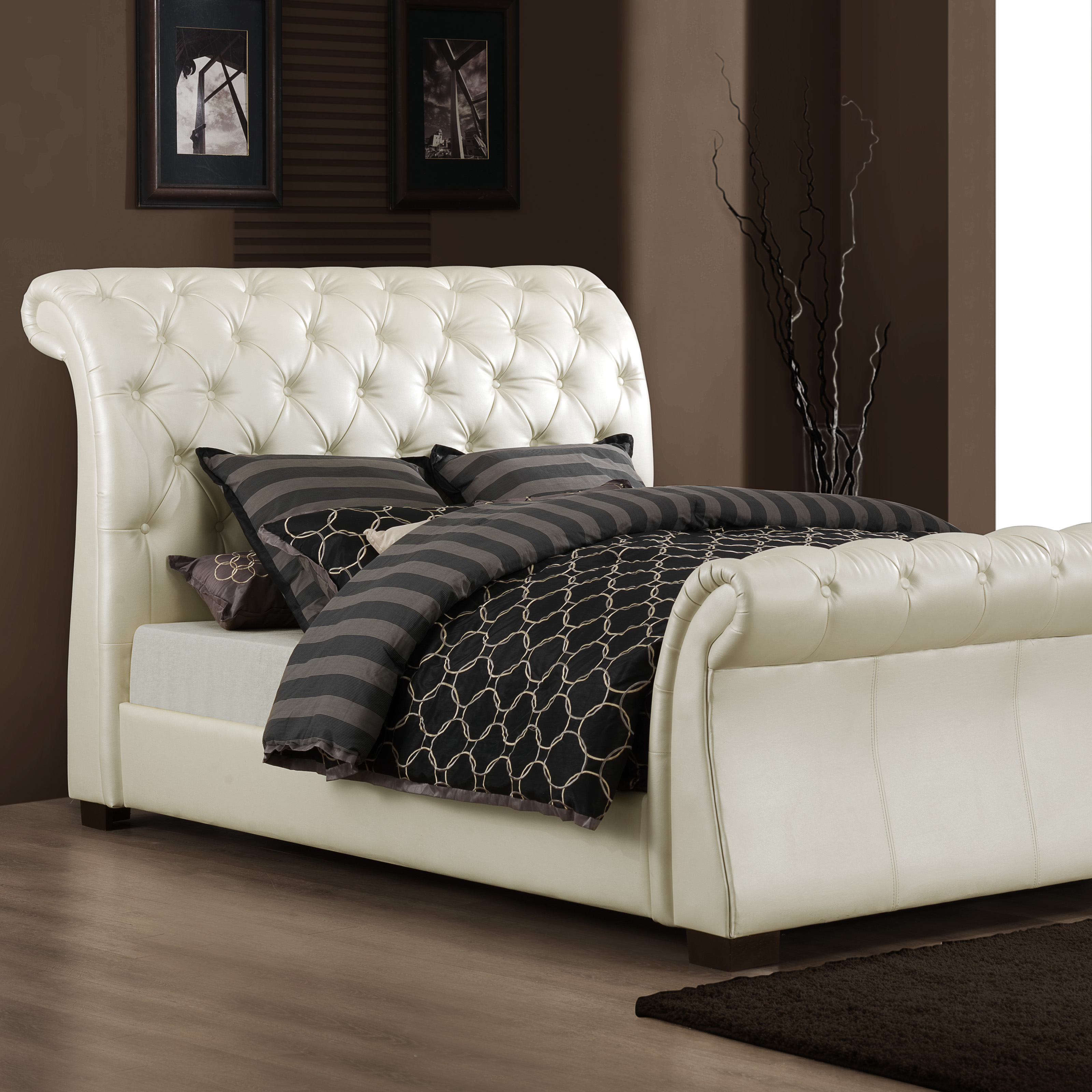 Brentwood Upholstered Sleigh Bed White Vinyl At Hayneedle