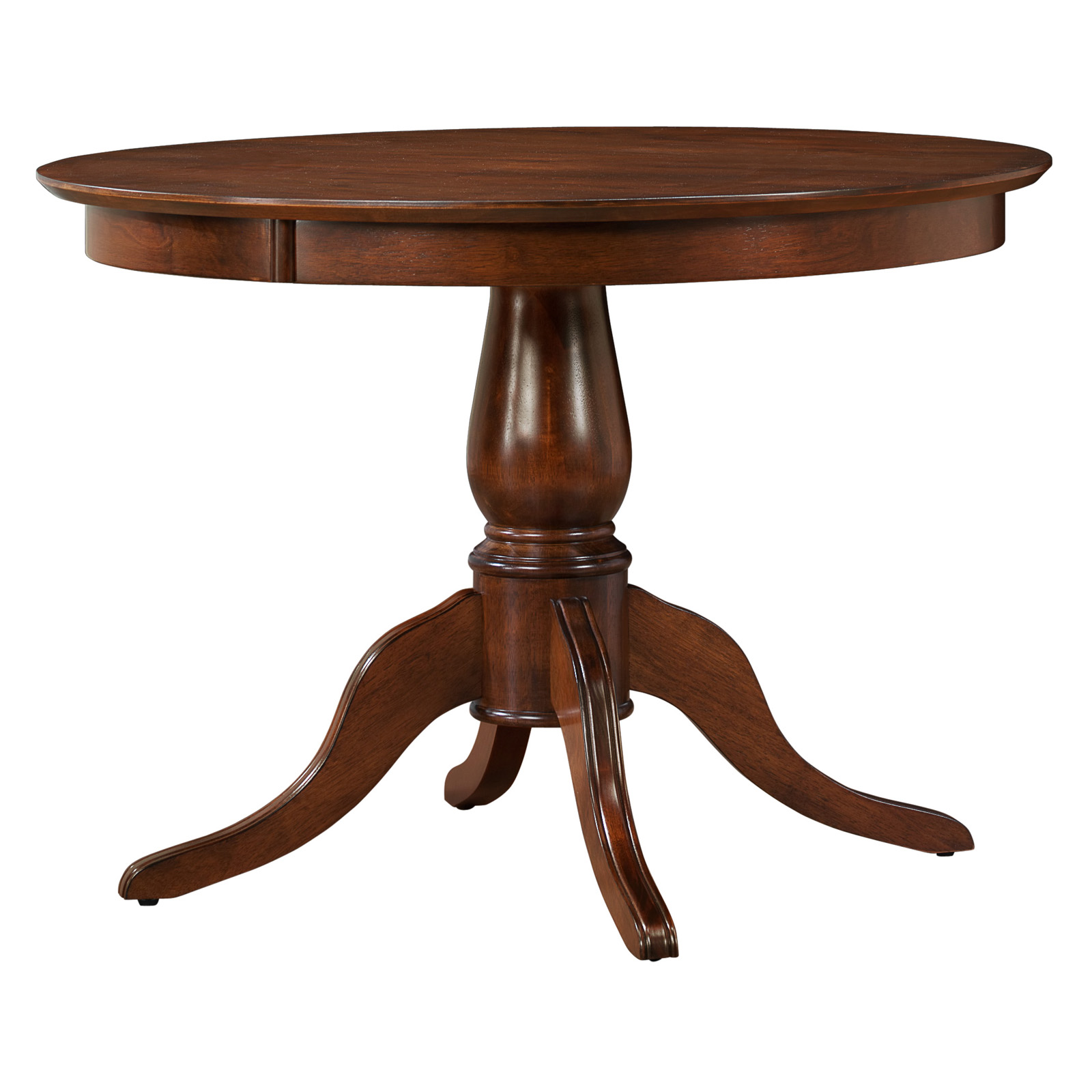 Clifton 42 in round pedestal dining table mahogany at for Dining room tables 42 round