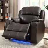 Jason Leather Power Recliner with Massage - Brown