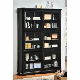Homelegance Stackable Wood Bookcase with Sliding Glass Door - Black