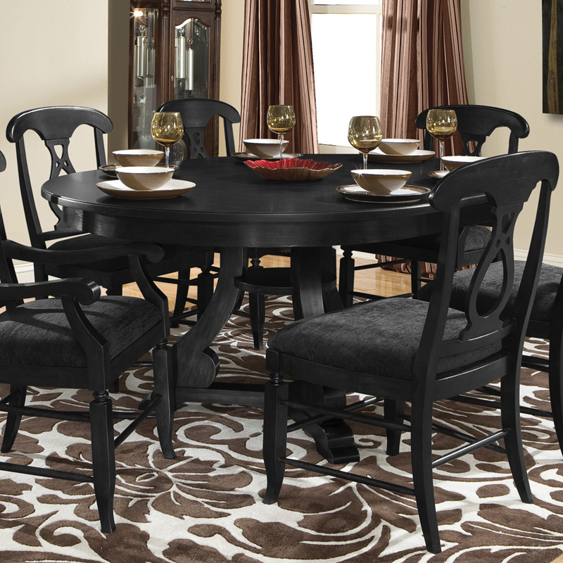 round pedestal 5 piece table set midnight black dining table sets