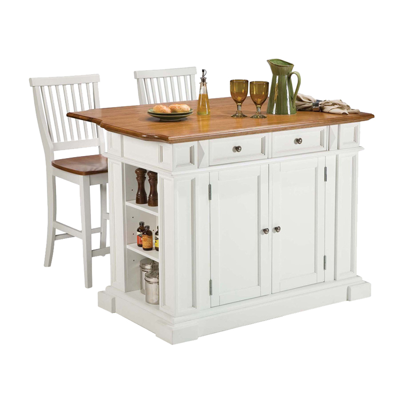 home styles large kitchen island set with 2 stationary