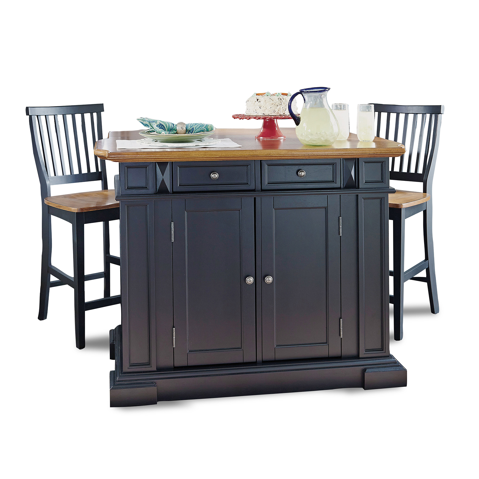 Home Styles Large Kitchen Island Set With 2 Stationary Stools Antique Black Oak Kitchen