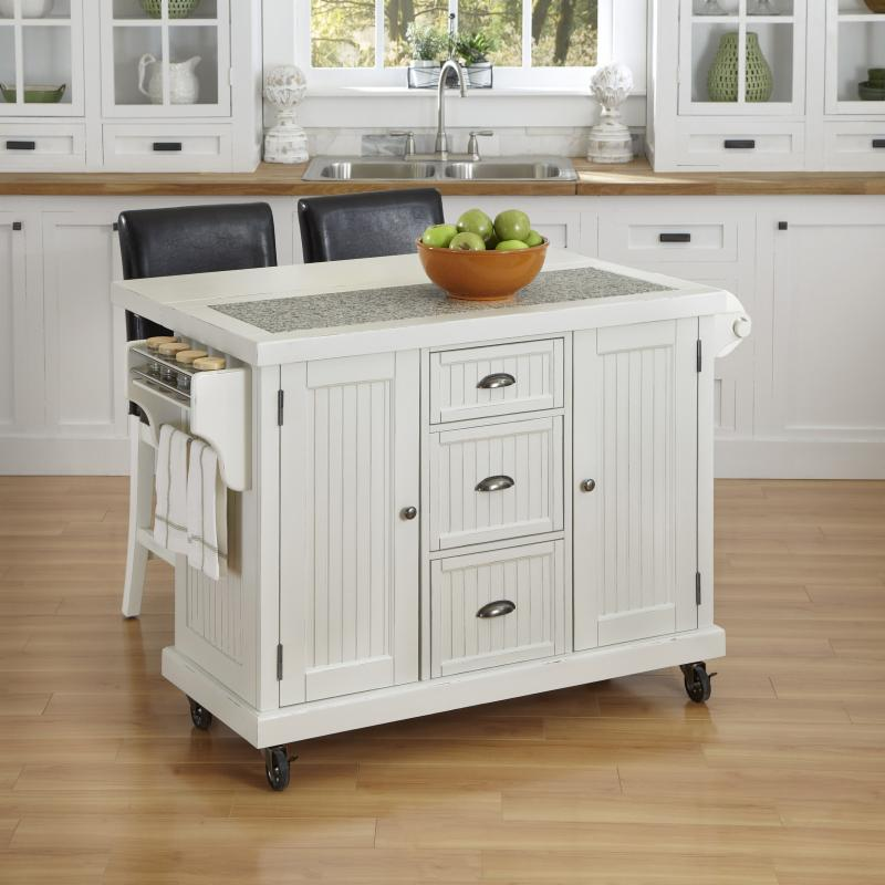 Home Styles Nantucket Distressed White 3 Piece Kitchen Cart and Two Stools Set