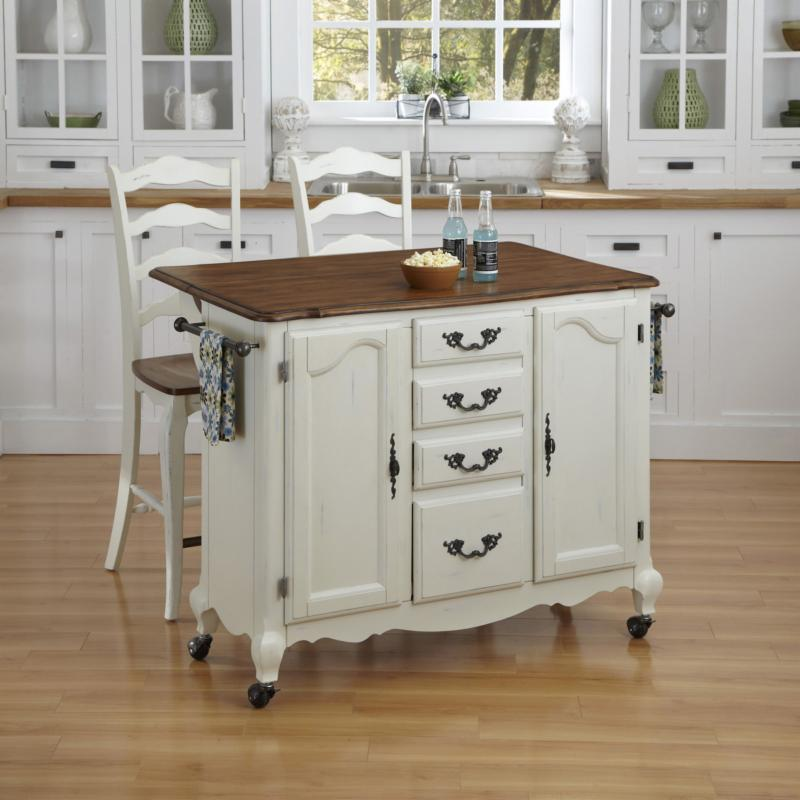 Home Styles The French Countryside Oak and Rubbed White Kitchen Cart and Two Stools - 3 Piece Set