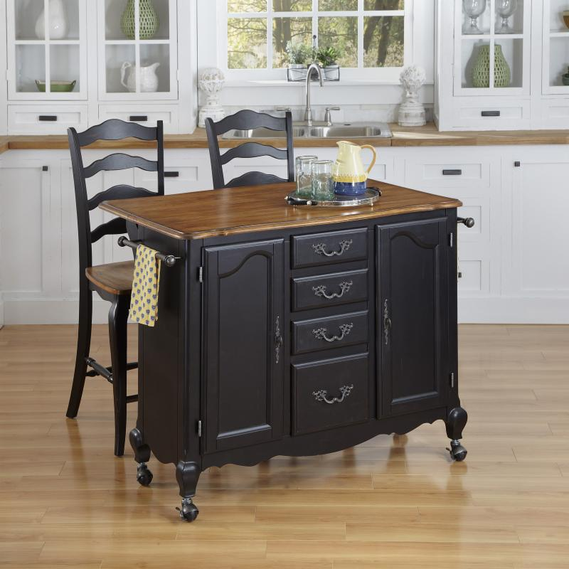 Home Styles The French Countryside Oak and Rubbed Black Kitchen Cart and Two Stools - 3 Piece Set