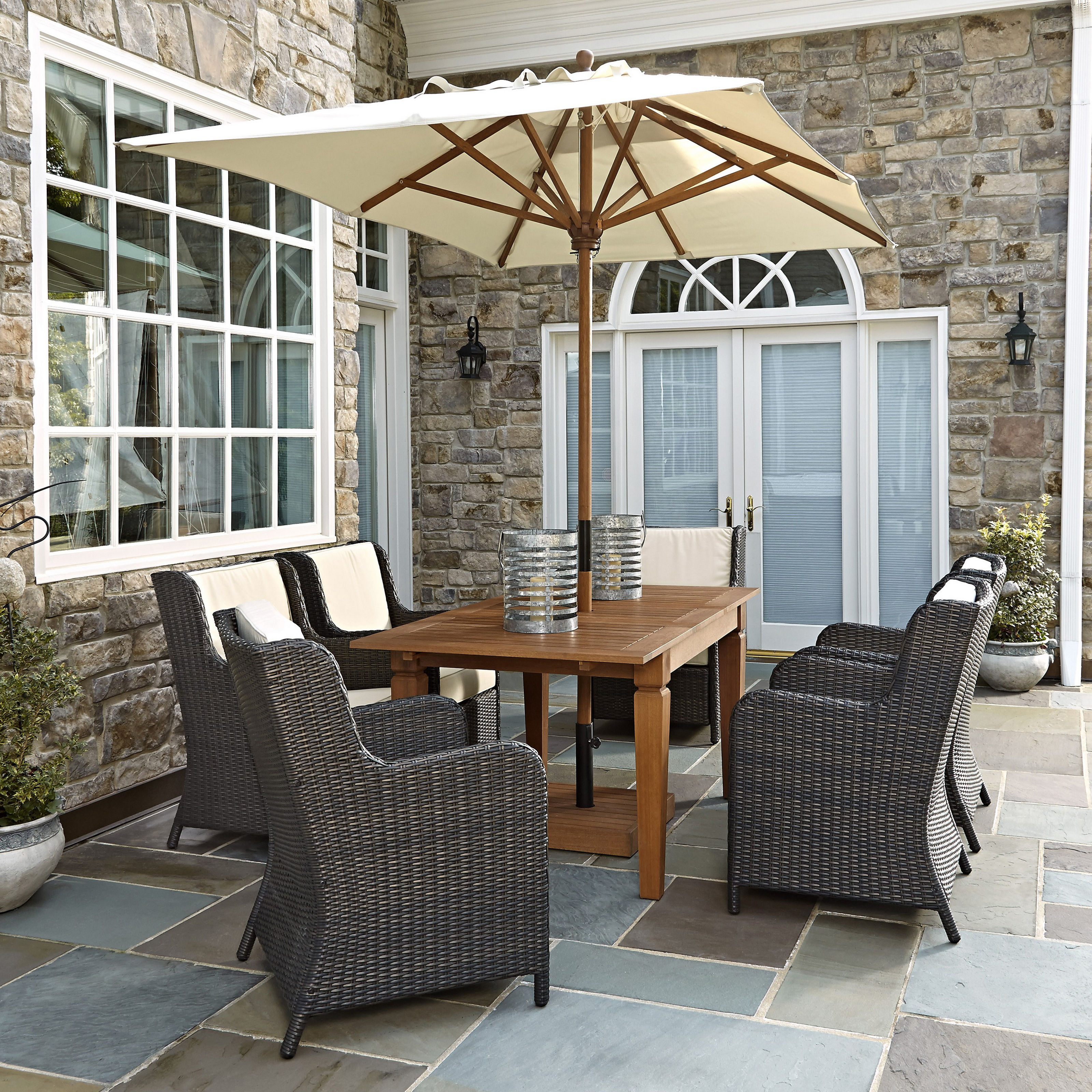 Home Styles Bali Hai 7 Piece Outdoor Dining Set With Umbrella Patio Dining