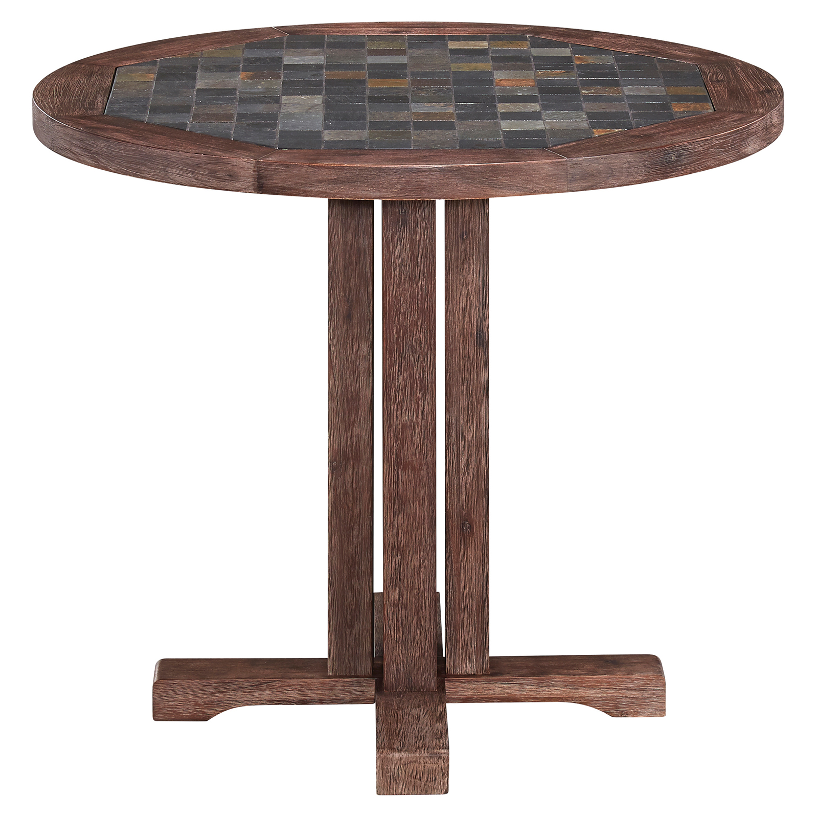 Home Styles Morocco 36 In Round Wood Patio Dining Table Patio Dining Table