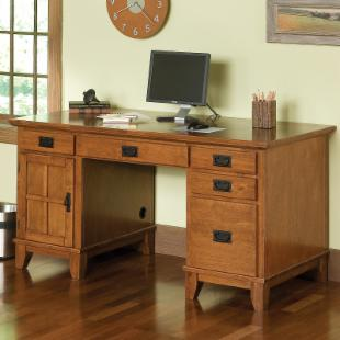 Home Styles Arts and Crafts Pedestal Desk