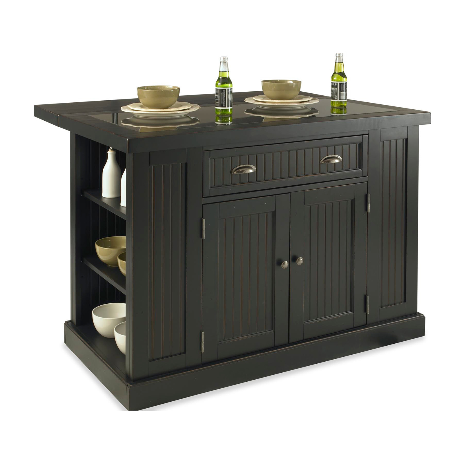 Home Styles Nantucket Kitchen Island With Two Stools Distressed Black Kitchen Islands And