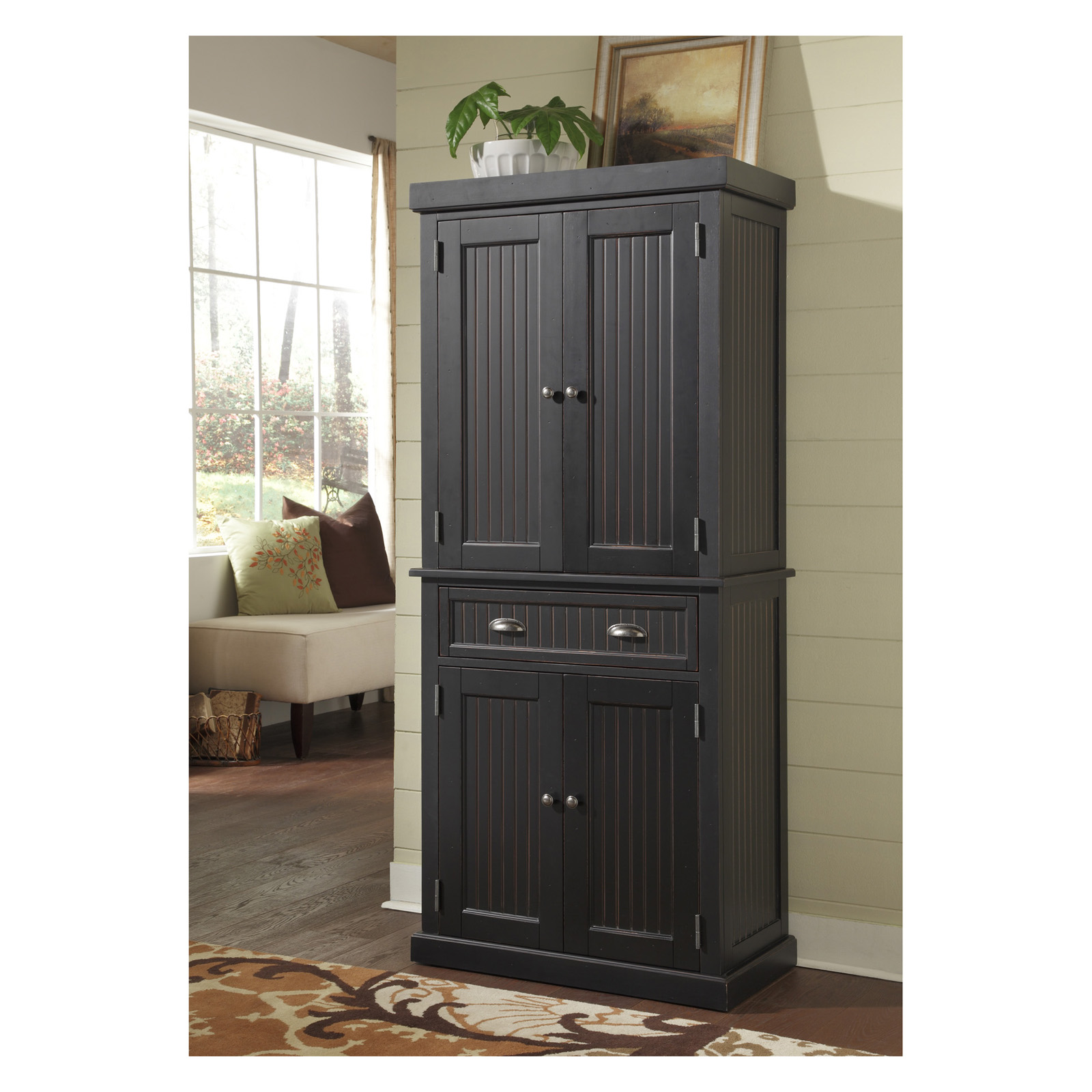 Nantucket Pantry Distressed Black Pantry Cabinets At Hayneedle