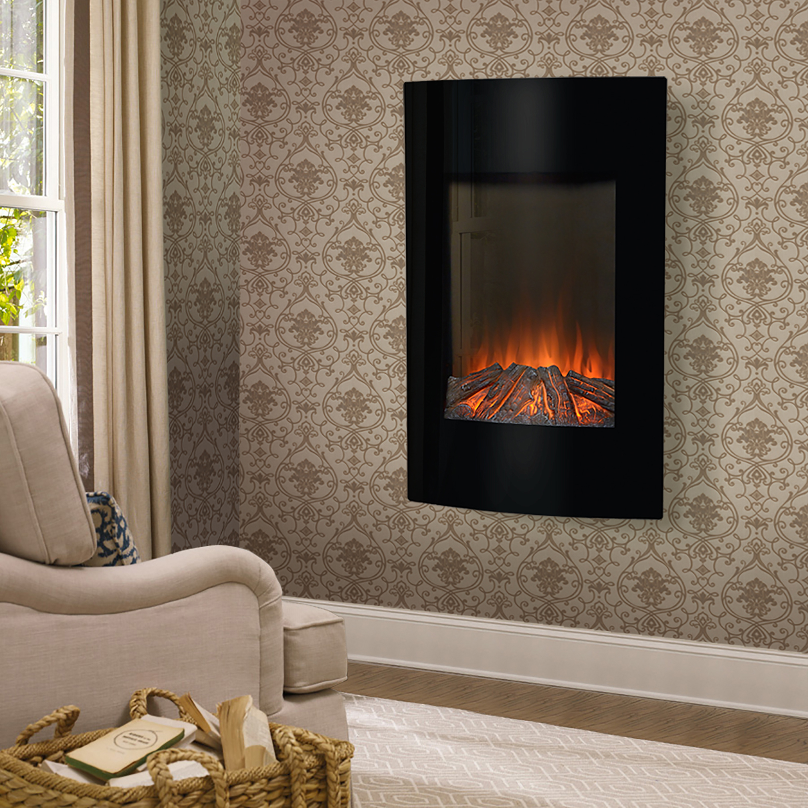 Flamelux High Wall Mount Electric Fireplace Black