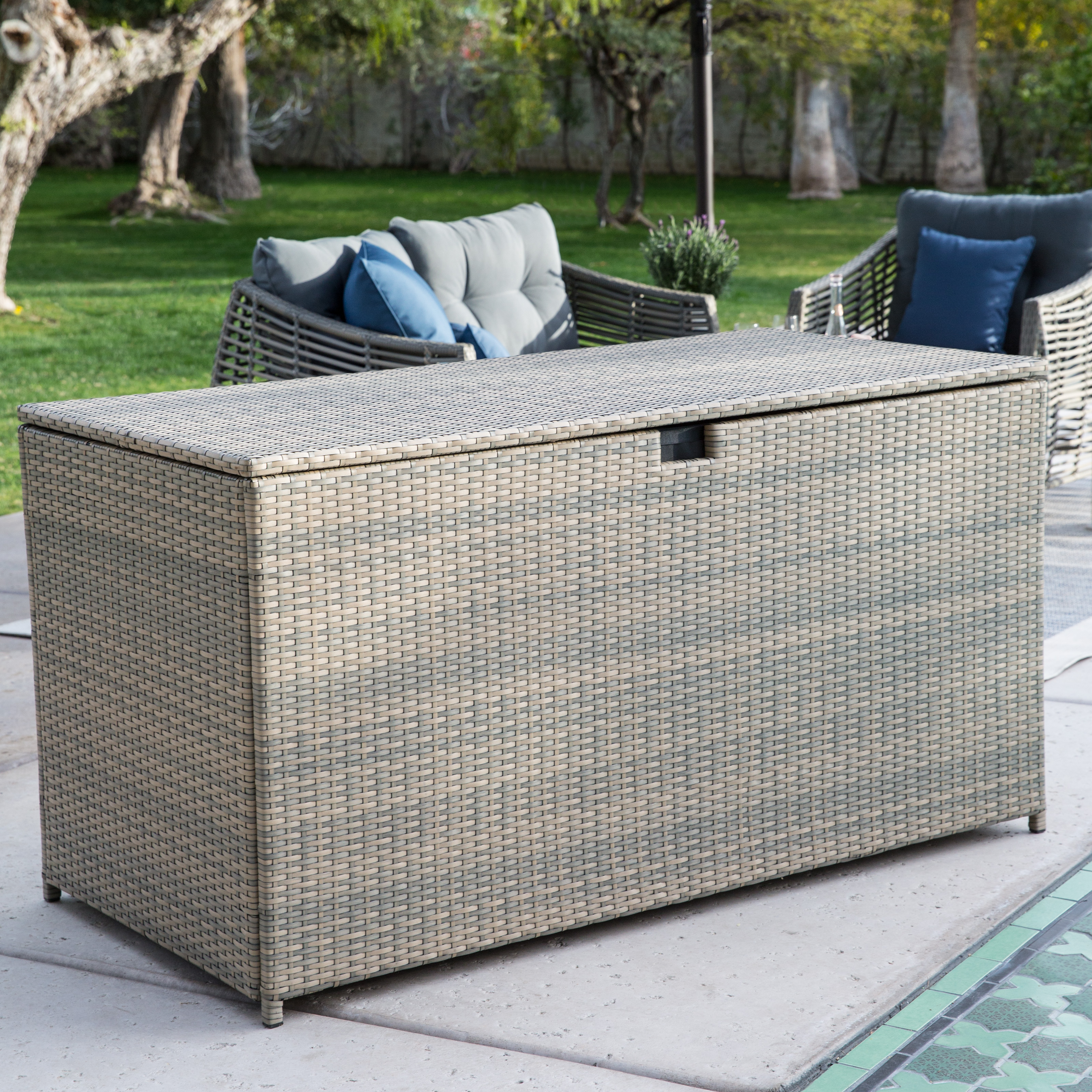 Belham Living Kambree All Weather Wicker 190 Gallon Deck Box Outdoor Benches At Hayneedle