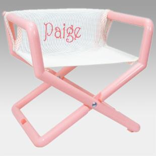 Hoohobbers Personalized White/Pastel Canvas Kids Directors Chair - Embroidered