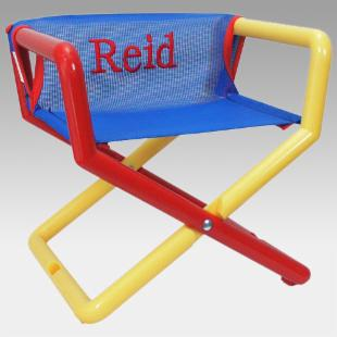 Hoohobbers Personalized Blue Mesh Kids Directors Chair - Embroidered