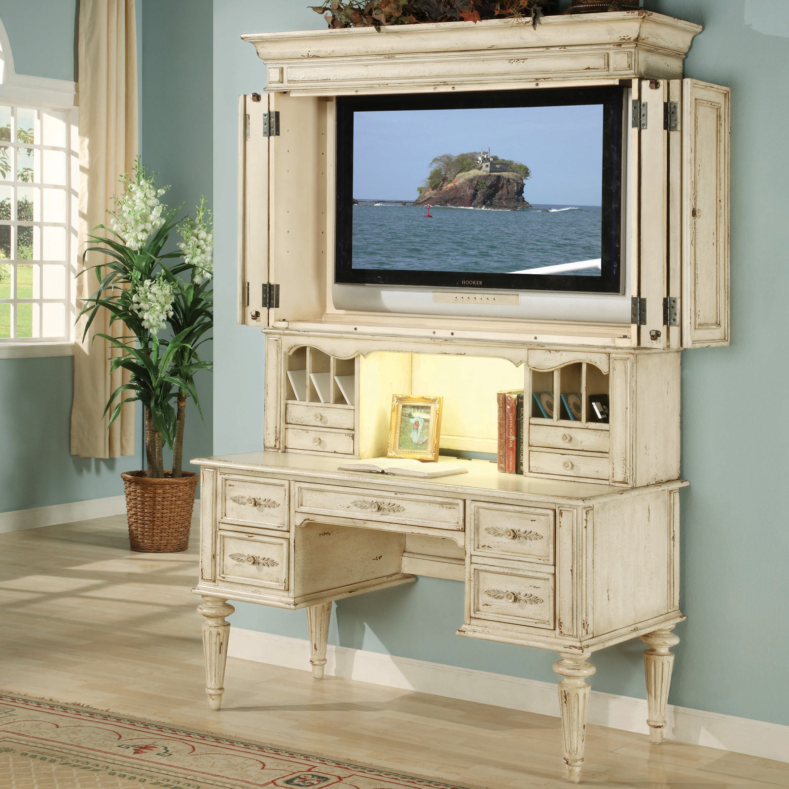 hooker shabby chic computer desk with optional tv hutch at. Black Bedroom Furniture Sets. Home Design Ideas