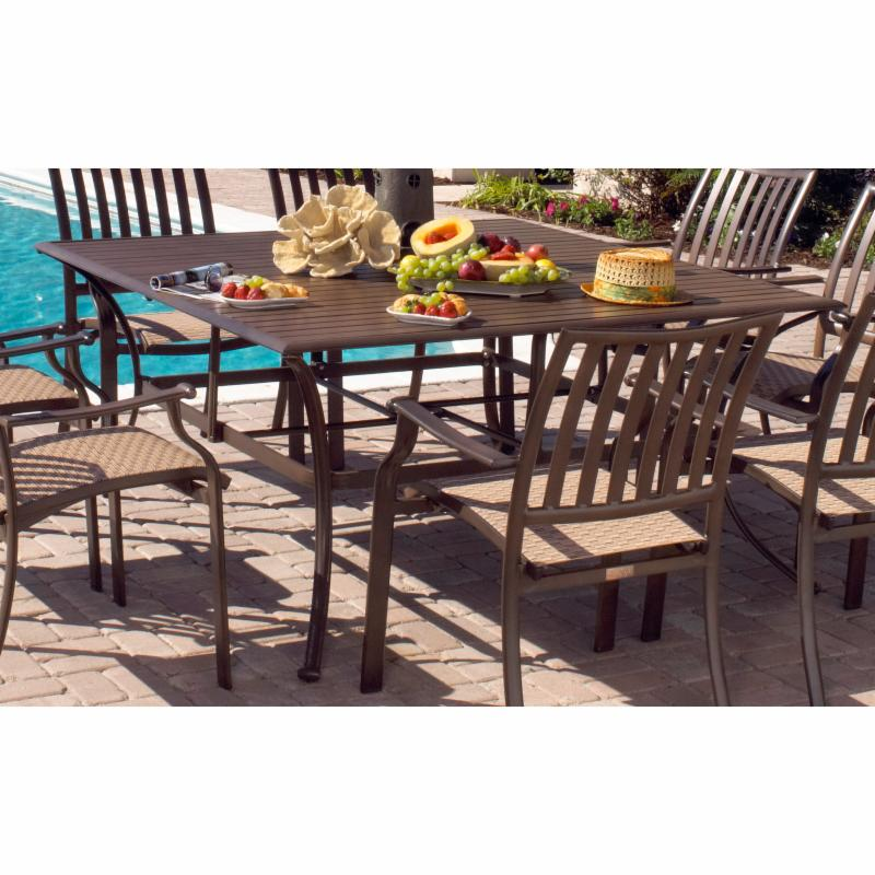 Outdoor Panama Jack Island Breeze Slatted Aluminum 60 in. Square Patio Dining Table with Umbrella Hole