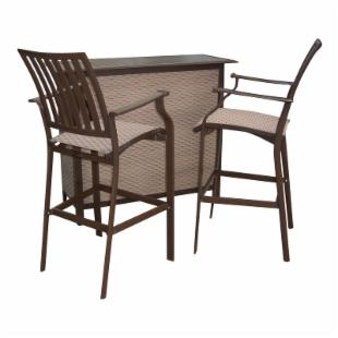 Panama Jack Island Breeze 3 Piece Slatted Bar Height Set - Espresso
