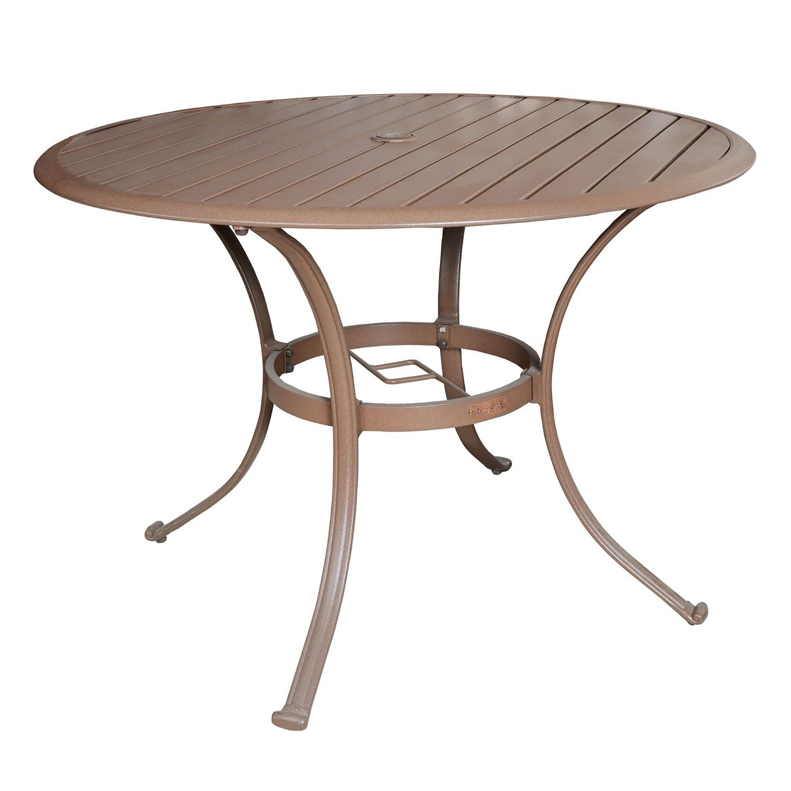 Panama Jack Island Breeze 48 In Round Slatted Aluminum Patio Dining Table Wi