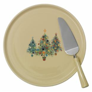 Fiesta Christmas Tree Trio Cake Plate &amp; Server
