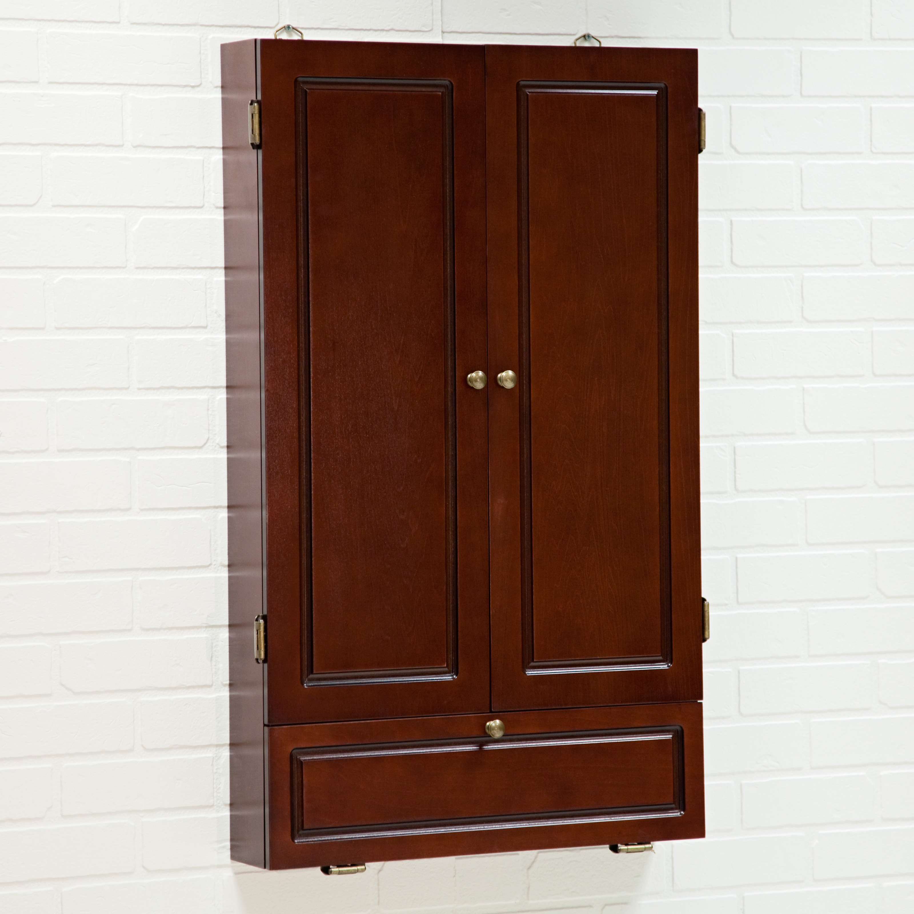 colonial dart board cabinet cherry at hayneedle