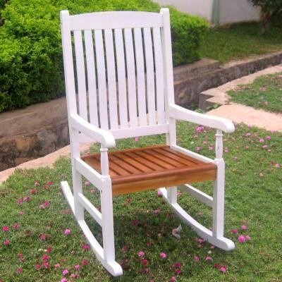  International Caravan Traditional Slat Rocking Chair in White and Oak Finish