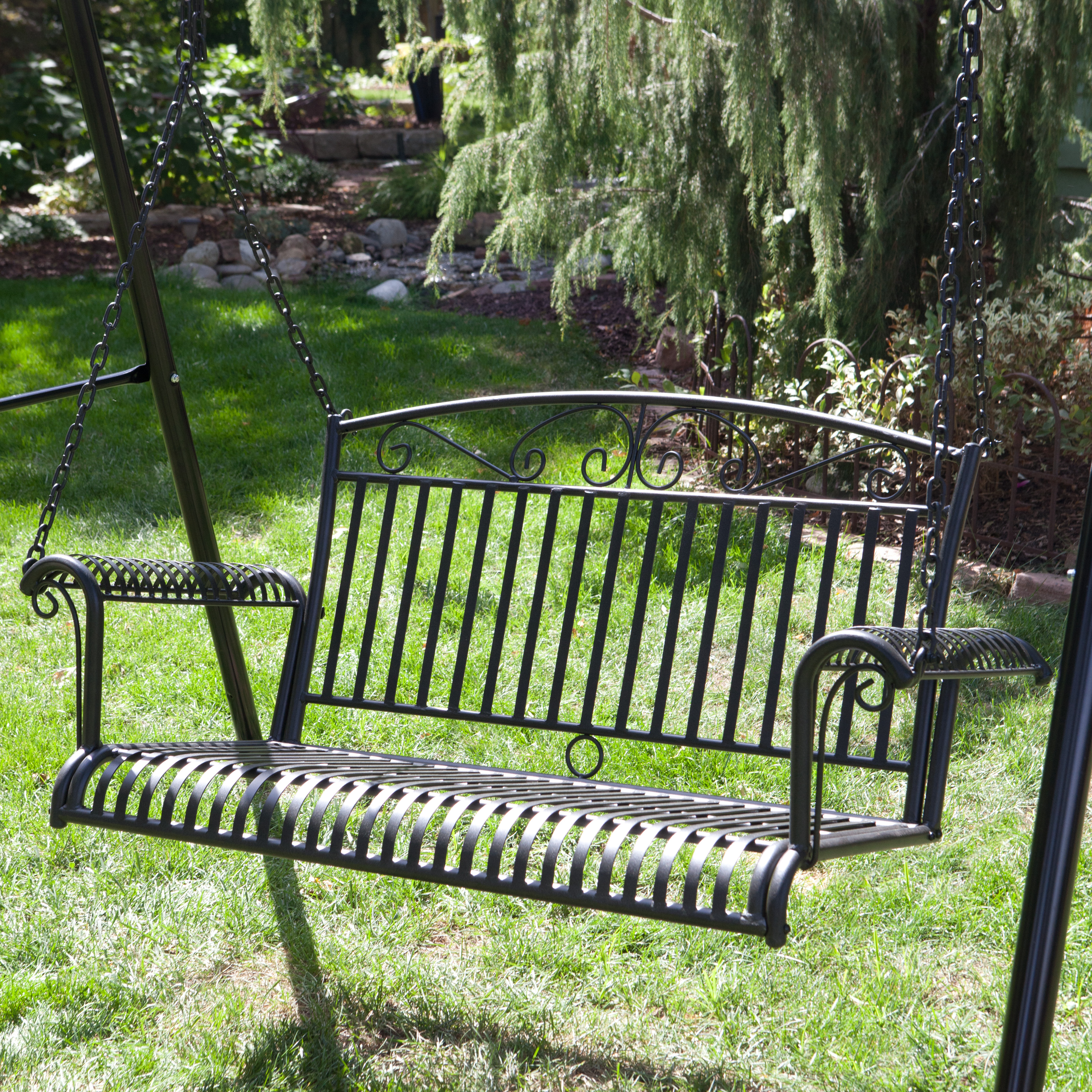 Backyard Porch Swing :  ft Wrought Iron Curved Back Porch Swing  Porch Swings at Hayneedle
