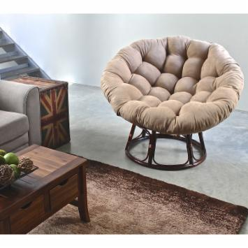 International Caravan 42 in. Papasan Chair with Solid Micro Suede Cushion