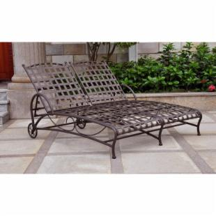 International Caravan Santa Fe Wrought Iron Double Multi Position Chaise Lounge