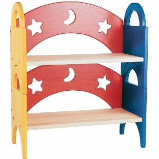 Guidecraft Moon and Stars Stacking Shelf Wood Bookcase