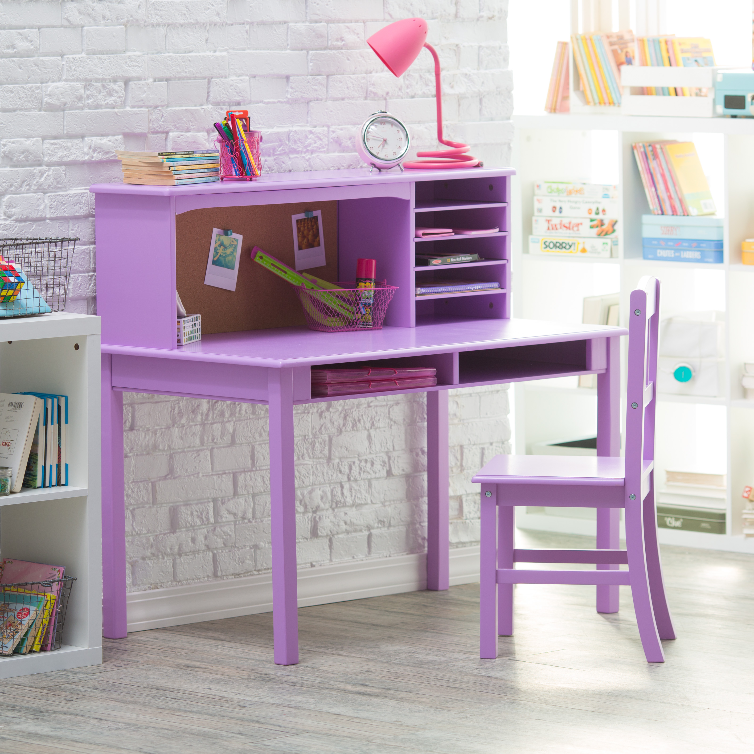 Guidecraft Media Desk Chair Set Lavender Kids Desks
