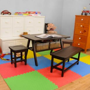 Drew 4 pc. Kids Play Table Set with 1 Bench and 2 Stools