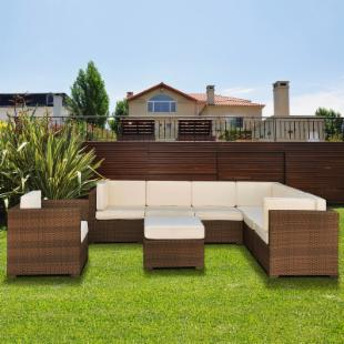 Marseille All Weather Wicker Sectional Set - Seats 7