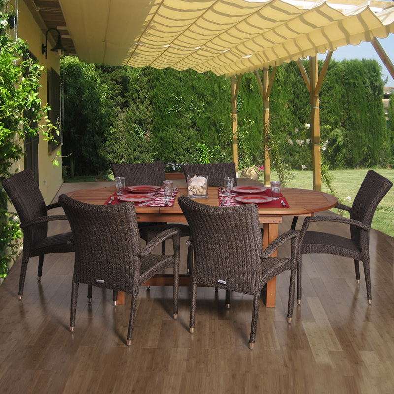 Amazonia Lemans Deluxe Oval Eucalyptus And Wicker Dining
