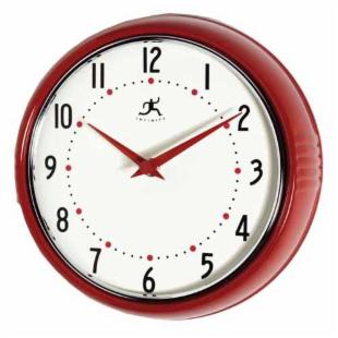 Infinity Instruments-Red Round Metal Retro 9.5 Inch Wall Clock