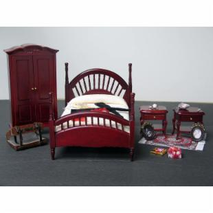 Dollhouse Bedroom Furniture Set - 1 Inch Scale