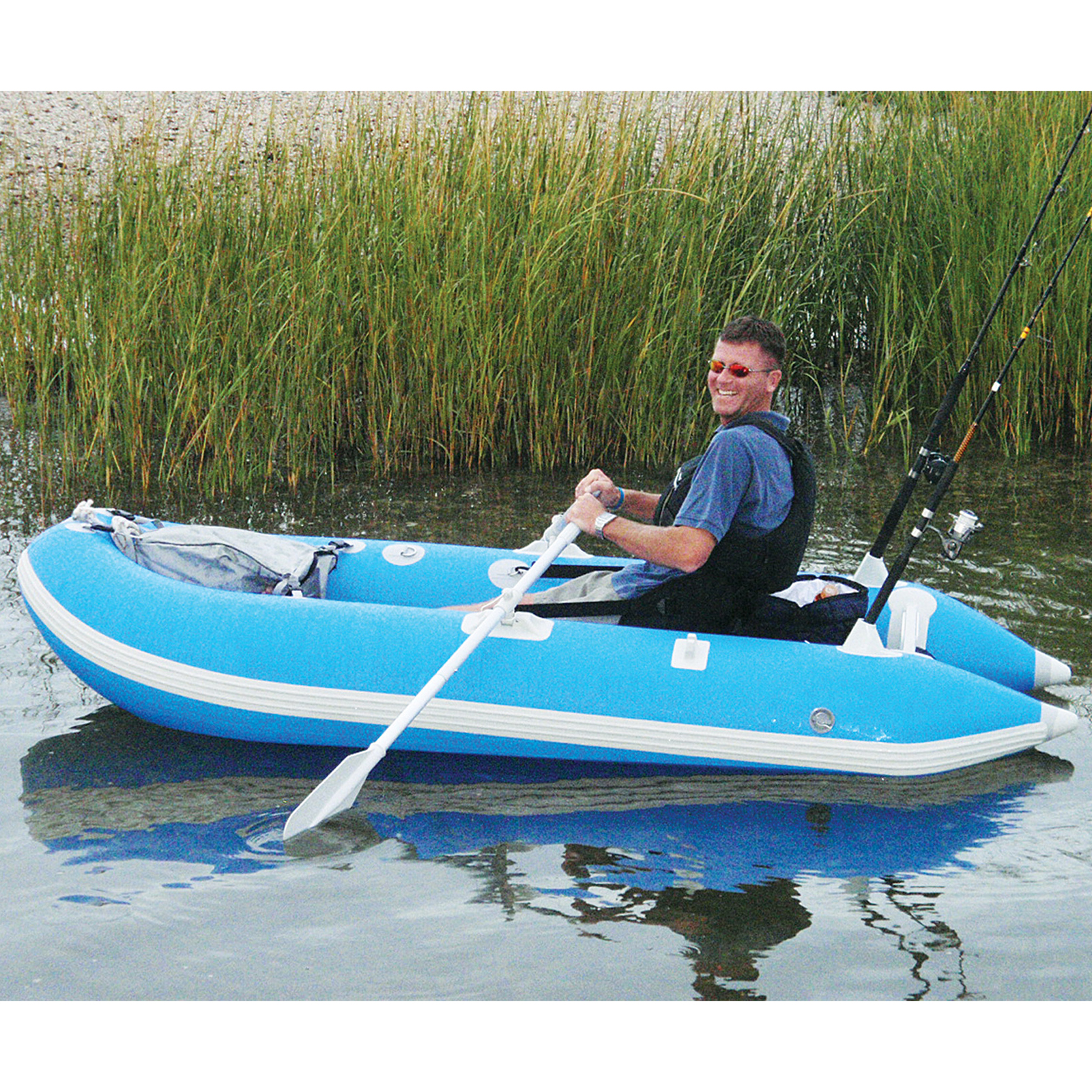 Solstice outcat catamaran inflatable 1 person fishing boat for One man fishing boat