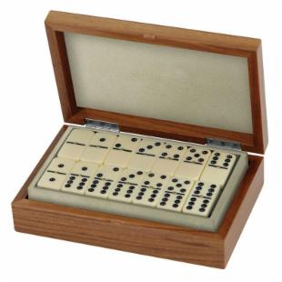Jaques Double Nine Dominoes in Walnut and Leather Case