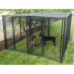 AKC 5 x 10 x 6 ft. Premium Heavy Duty Dog Kennel - 2 Run with Common Wall