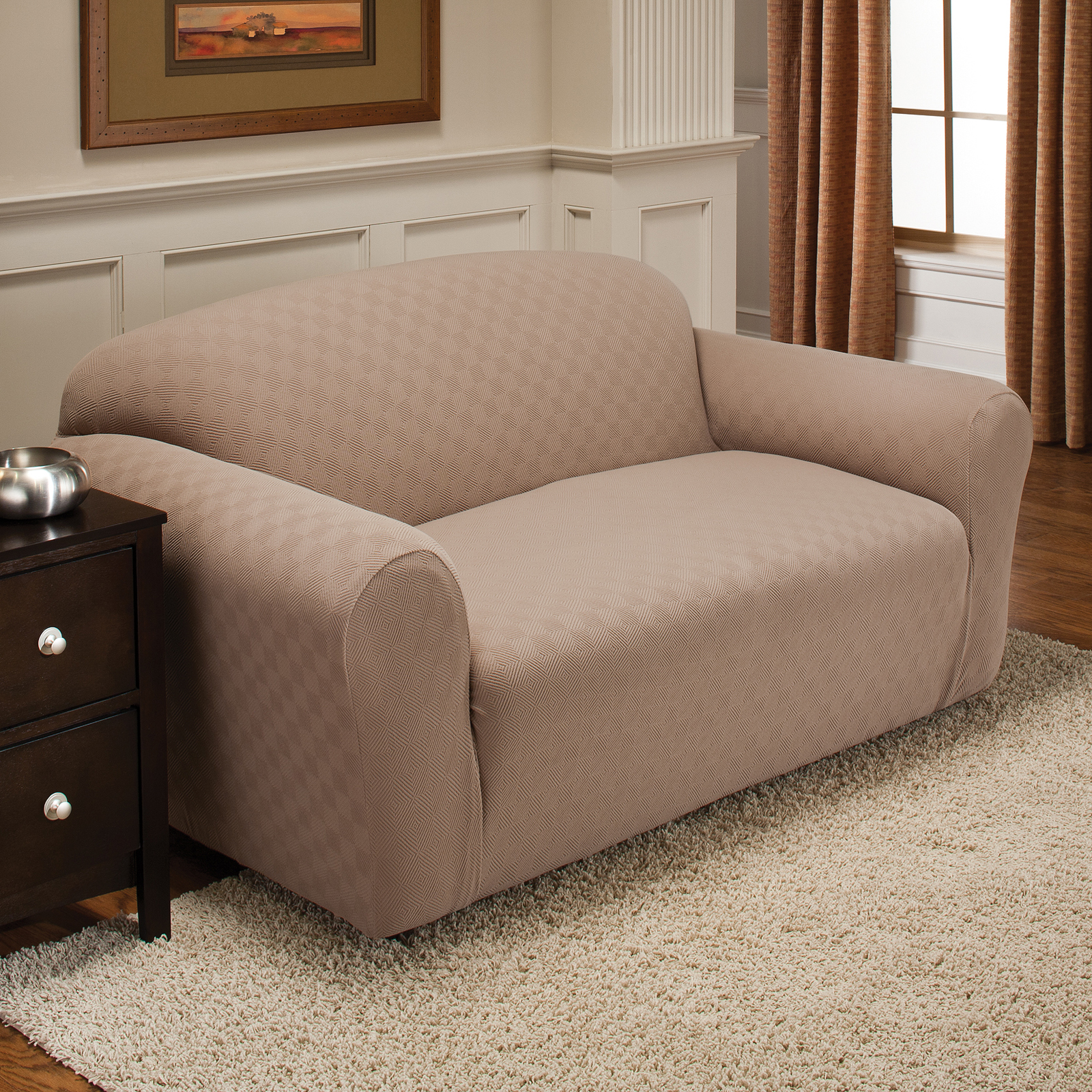 innovative textile solutions newport stretch sofa slipcover at hayneedle. Black Bedroom Furniture Sets. Home Design Ideas