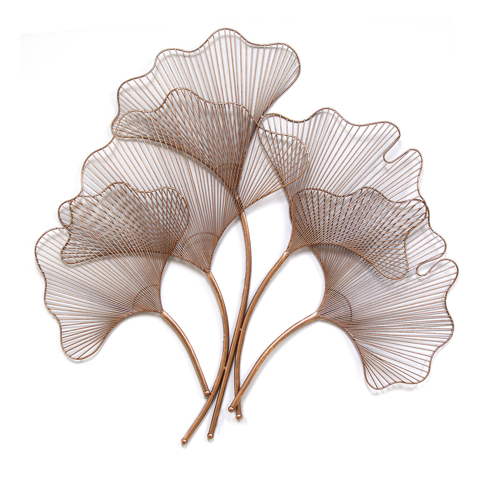 Metal Sculptures And Art Wall Decor: Stratton Home Rose Gold Ginkgo Leaf Wall Sculpture