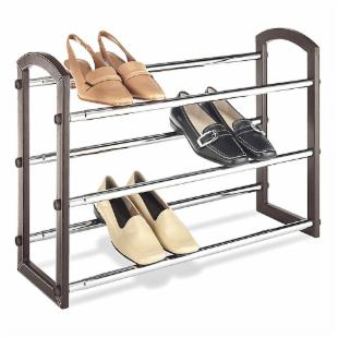 Whitmor Faux Leather 3-Tier Expanding Shoe Rack