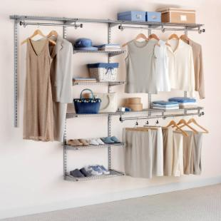 Rubbermaid Configurations 4 - 8 ft. Titanium Deluxe Closet Kit -FG3H8900TITNM