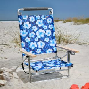 Copa 5-Position Lay-Flat Aluminum Beach Chair- Hibiscus