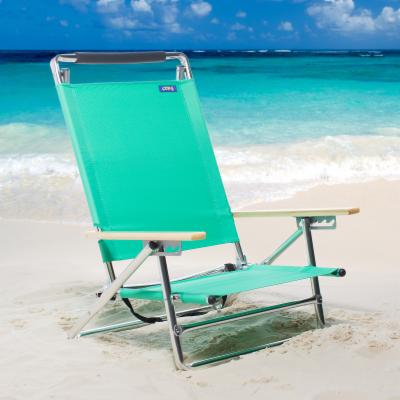 Copa 5-Position Lay-Flat Aluminum Beach Chair- Atlantic Blue