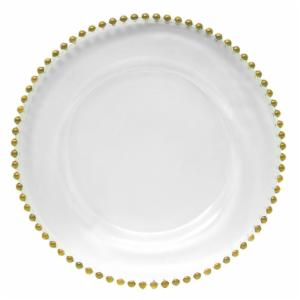 Charge it by Jay Gold Beaded Glass Charger Plate