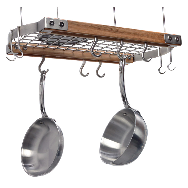 Brunswick ceiling pot rack natural pot racks at hayneedle for Pot racks for kitchen