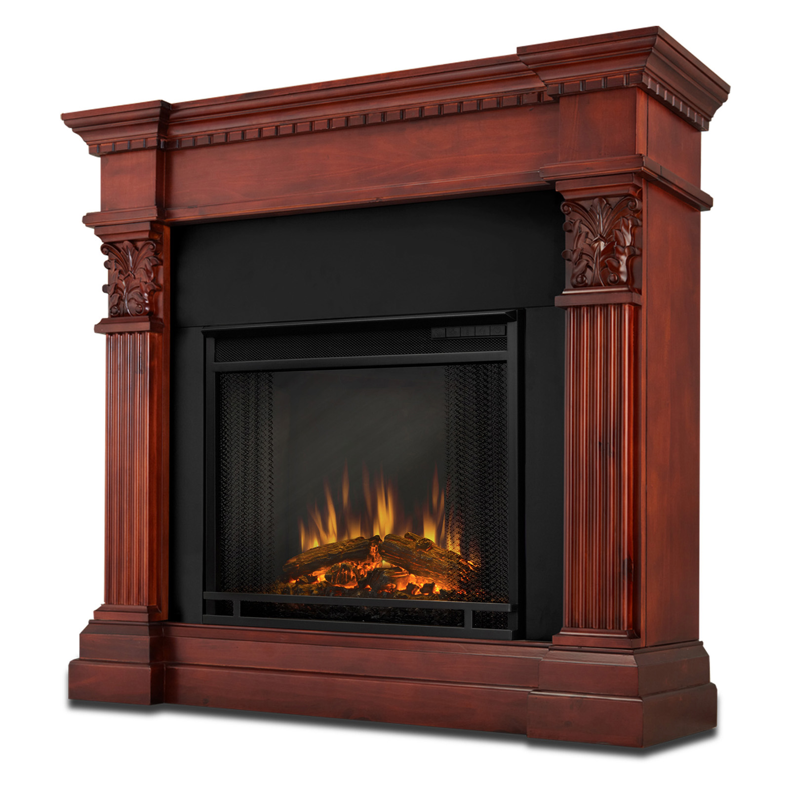 real flame gabrielle indoor electric fireplace dark