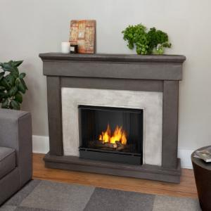 Real Flame Cascade Cast Ventless Gel Fireplace - Dune Stone